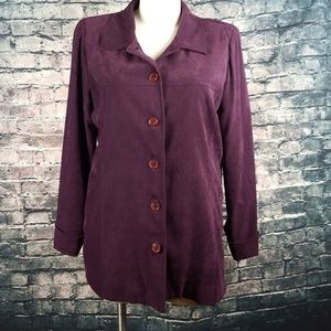 Jackets & Coats - Purple Five Button Sueded Womens Jacket